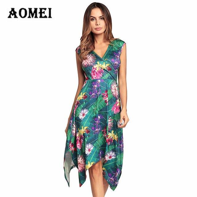 c8941b1a40d Anniversary Sale Women Print Floral Sundress Summer Tropical Flower Ladies  Fashion Irregularities Casual Sun Dresses Plus Size