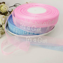 12yard 25mm Its A Boy Girl Bear Printed Ribbon Baby Shower Christening Baby Boy Satin Ribbon For Children Gift Packing DIY Craft