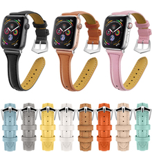 Cow Leather pulseira Strap For Apple Watch band iwatch band 4 3 42mm 38mm 44mm 40mm i Watch Correa beacelet Belt Watchband pulseira universal alligator crocodile grain leather strap wristwatch watch band correa de reloj 17june20