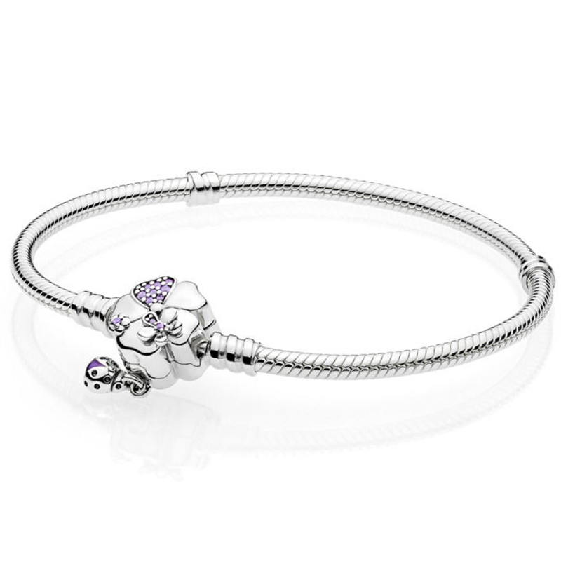 New 925 Sterling Silver Bracelet Wildflower Meadow Floral Clasp Snake Chain Bracelet Bangle Fit Bead Charm Diy Pandora Jewelry