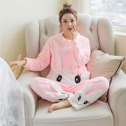 Новая женская плотная Фланелевая Пижама для отдыха с мультяшным милым улыбающимся Кроликом, модная Домашняя одежда из двух предметов