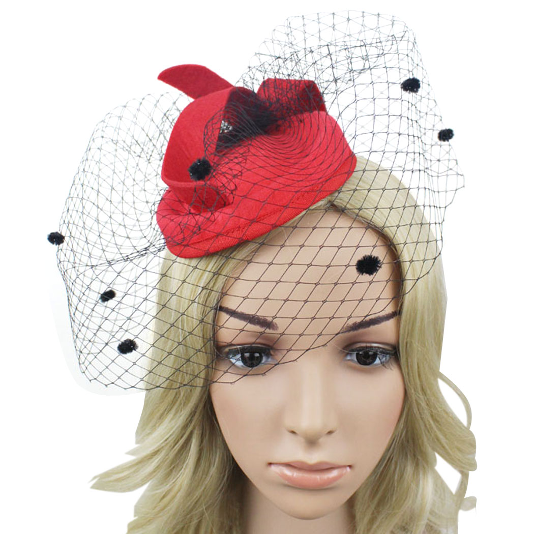 Red Black Vintage Retro Veil Birdcage Pillbox Fascinator Top Hat Bride  Wedding Hair Accessories For WomenTea Party Lady Headwear 5e8fb896c36