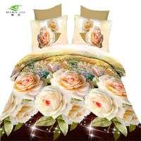Big Flower 3D Bedding Sets Queen Size Duvet Cover 4pcs Contain 1 Duvet Cover 1 Flat Sheet 2 Pillow Case for Girls Wholesaling