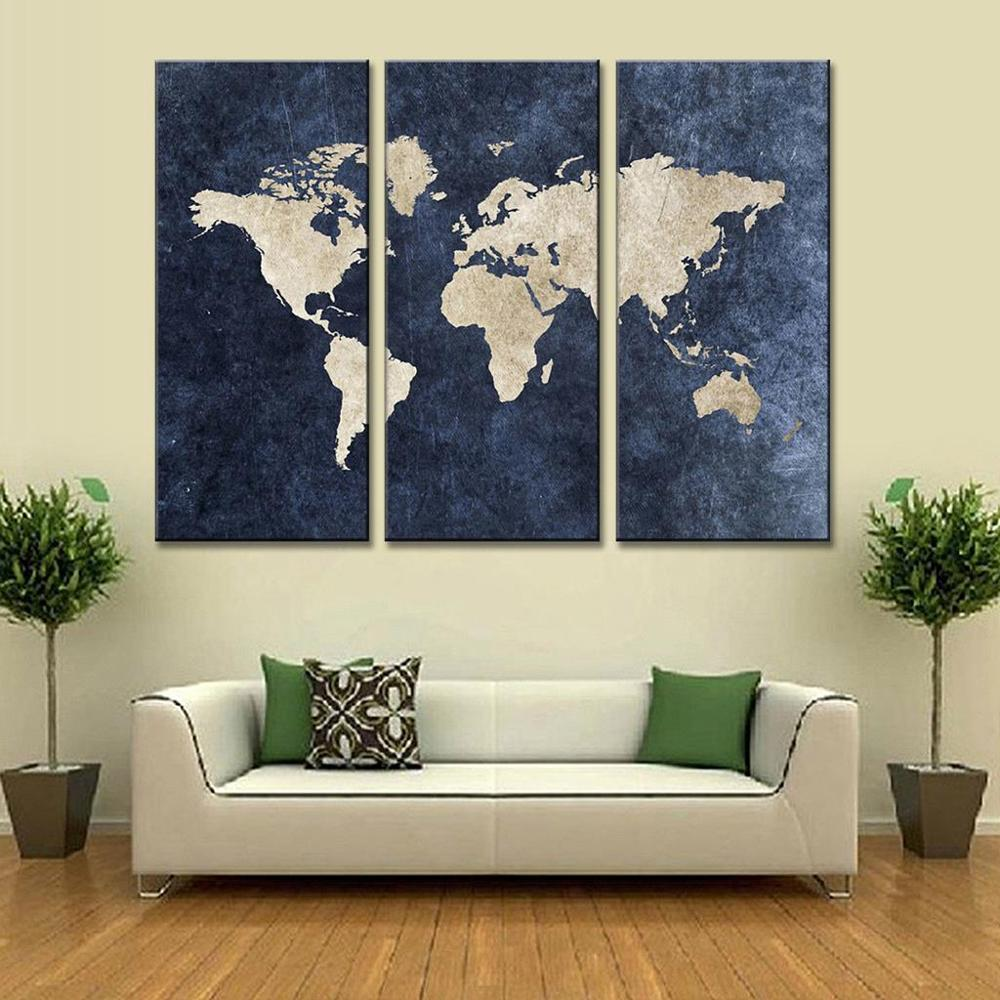 New 3 Pcs Set Abstract Navy Blue World Map Canvas Painting