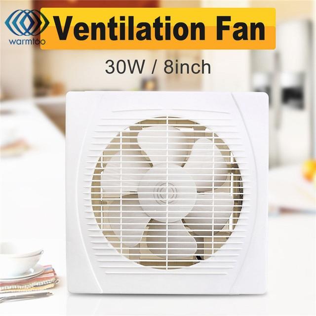 30W 8 Inch White Ventilation Extractor Exhaust Fan Blower Window Wall  Kitchen Bathroom Toilet Fan Hole