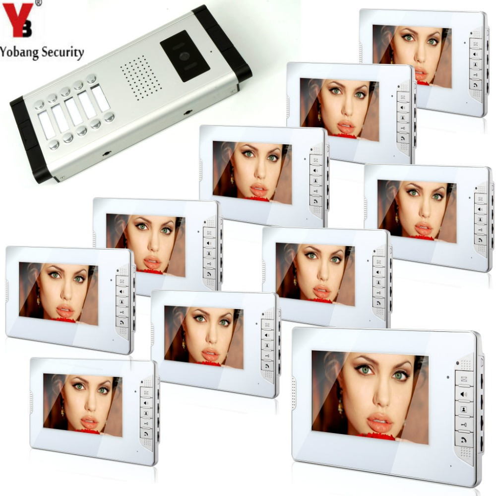 YobangSecurity 7 Inch Color Cable Video Door Phone Video Door The System Intercom Doorbell Home Parts 10 Unit Apartment Kit