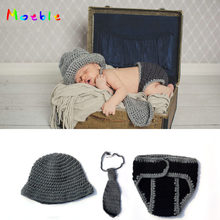 Crochet Gentleman Inspired Newborn Boys Photography Props Knitted Hat Necktie Pants Set Infant Boys Coming Home Outfit MZS-16030(China)