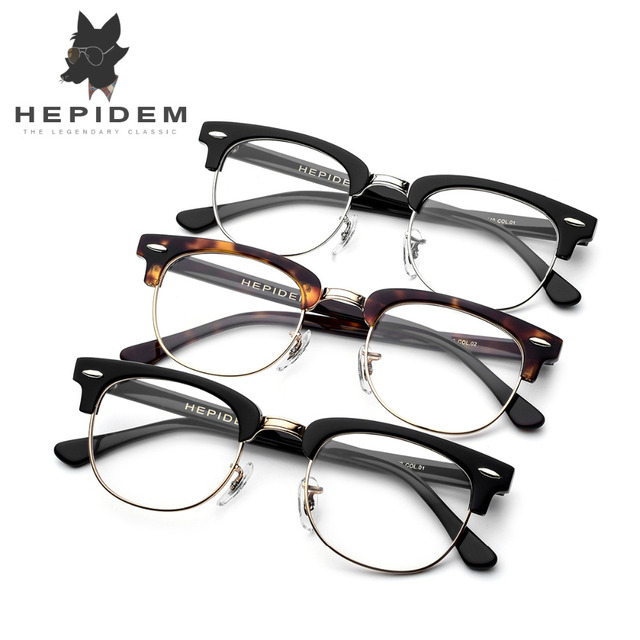 Acetate Prescription Glasses Frame Men Metal Tom Round Eye ...
