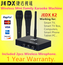 JEDX k2 Android TV Box PC Home KTV Mini Karaoke Echo System Digital Sound Audio Singing Machine with 2pcs Wireless Microphone