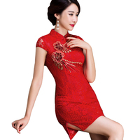 Red Embroidery Flower Chinese Style Bride Dress Women Vintage Sequined Mini Cheongsam Summer New Appliques Lace Qipao S 3XL