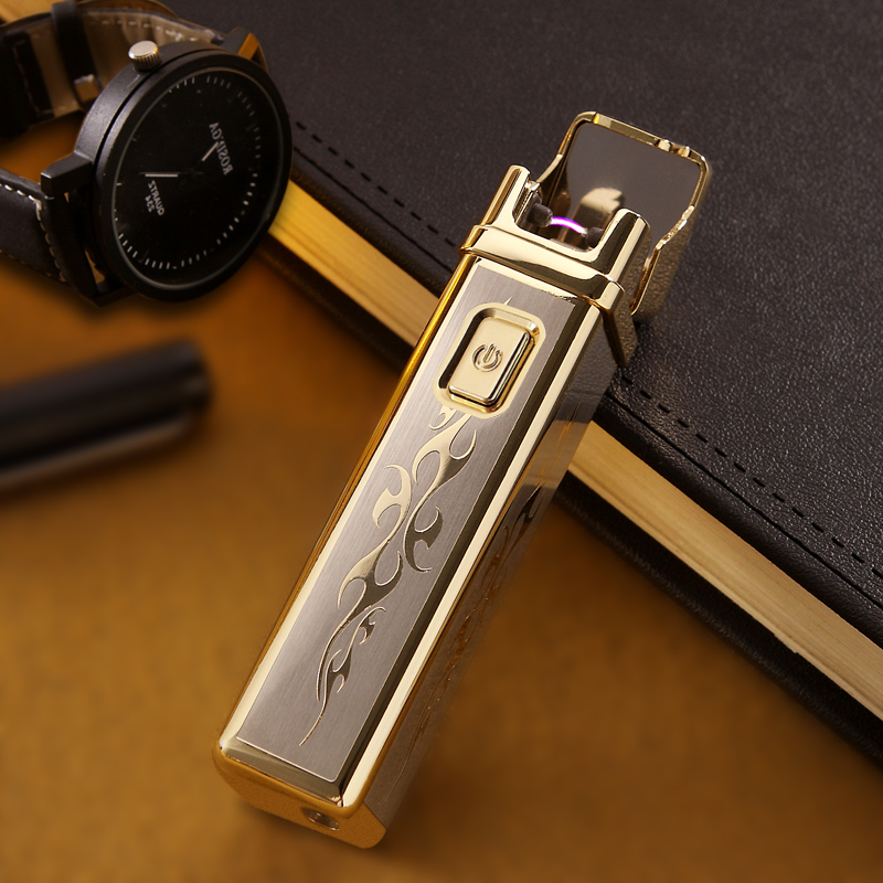 Latest Thunder Metal Pulsed Arc Smoking Lighter Luxury brand Carving Electronic Cigarette Lighter Usb Charge LIghter