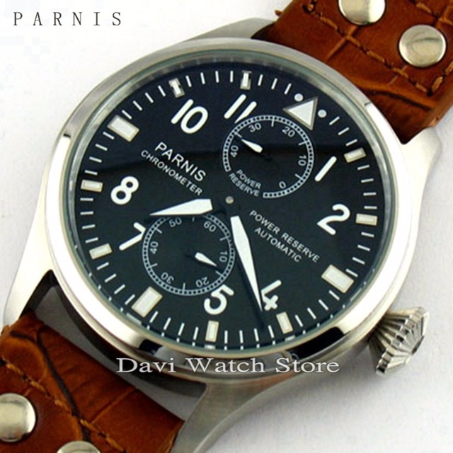 2d3b290c63a Reserva De Energia Parnis 47mm Gaivota Automático Mostrador Preto relógio  Dos Homens do Relógio de Aço