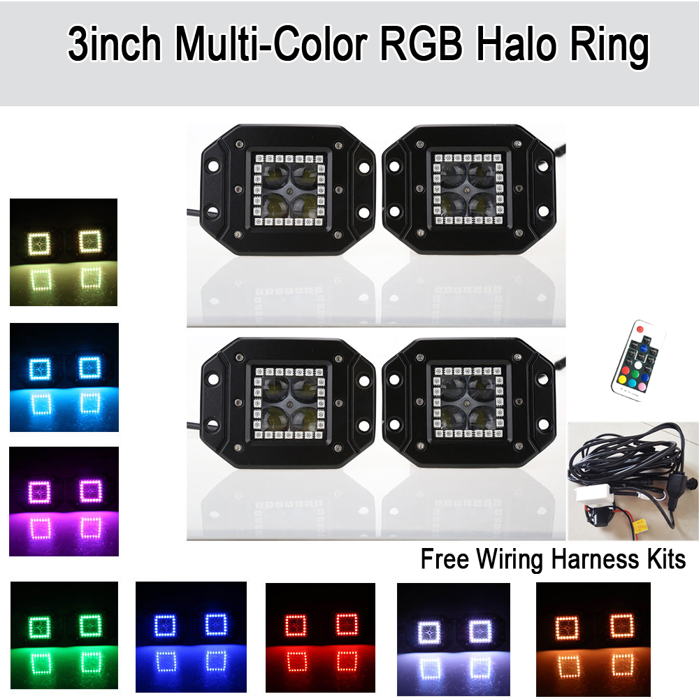Pack 4 4D Flush Mount LED Work Light Bar Spot w/ RGB Halo Ring Multicolor Changing Strobe Offroad ATV SUV 4x4 4WD UTV Boat Truck mens wristwatch relogio masculino fashion sport watches men lige tourbillon top brand luxury automatic mechanical watch