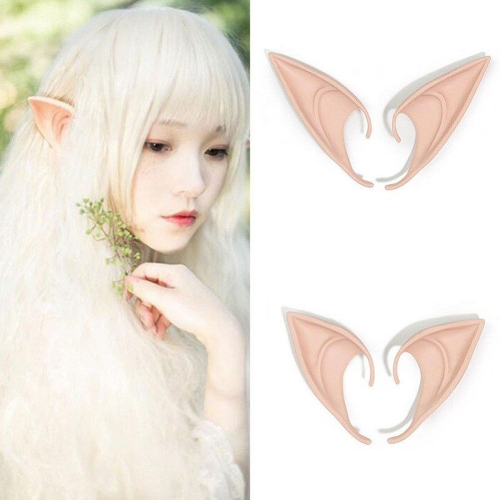 1Pair Mysterious Angel Elf Ear Cosplay Accessory Fancy Party Soft Pointed Prosthetic Tip False ear Halloween Decoration #281226
