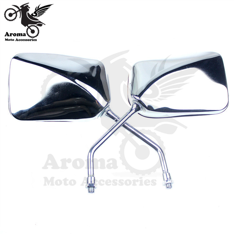 chrome motorcycle rearview mirror 8mm screw universal motorbike side mirrors for Harley Davidson style honda suzuki moto sliver