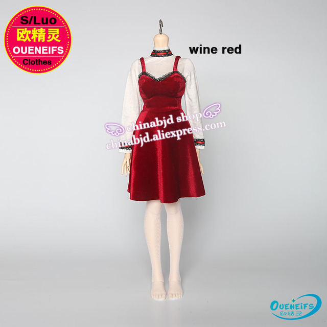 BJD Clothes free shipping  original skirt 1/3 girl wine red Blue hole skirt with shoulder-straps,no doll or wig