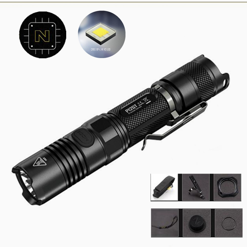 NITECORE P12GT LED Flashlight 7 modes CREE XP-L HI V3 LED 1000 lumens 320m beam distance by 2*CR123 / 1*18650 battery nitecore p12gt cree xp l hi v3 1000 lumens led flashlight for gear military rechargeable led tactical flashlight torch