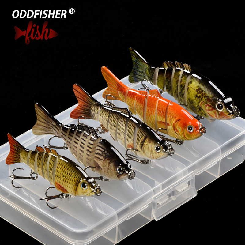 1Set 2/5pcs Mixed Colors Fishing Lure Set With Box Multi Segments Jointed Hard Bait Lifelike Wobblers Swimbait Crankbait