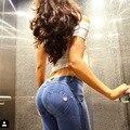 Calças de Brim quentes Femme Taille Basse Cintura Elástica Jeggings Jeans Mujer Push Up Skinny Slim Mulheres de Alta Estiramento Legging Calças Lápis