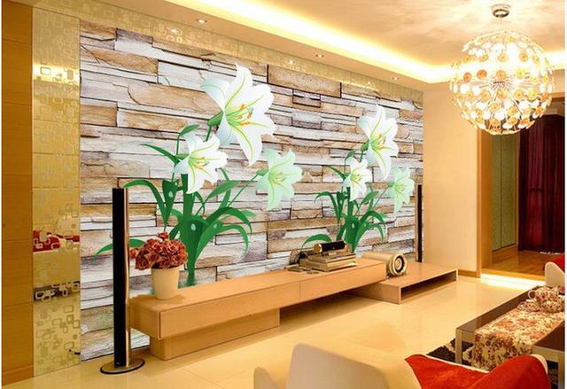 Dekorative Bilder Wohnzimmer ~ D angepasst tapete mauer lilie blume wand dekorative malerei