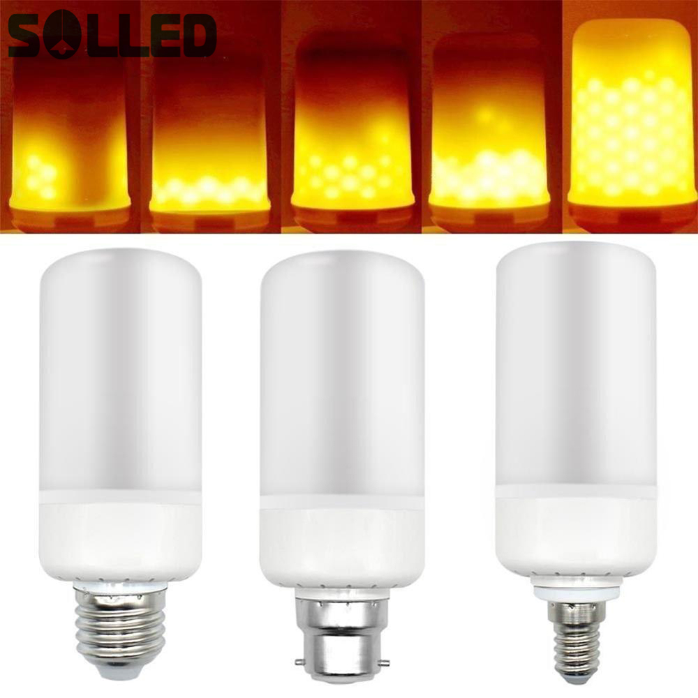 SOLLED 85-265v 99LEDs Simulated Flame Light Bulb Candles Flicker Effect for Xmas Festival Celebration Decoration B22 E14 E27 rovertime rovertime rtm 85