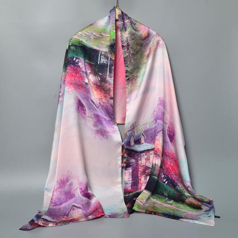 ccb7dc2b9cb336 Top Grade Chinese Style Double Layer 100% Pure Silk Shawl Cape with Buttons  Women s Print Silk Scarf Wraps Gifts 180x55cm-in Women s Scarves from  Apparel ...