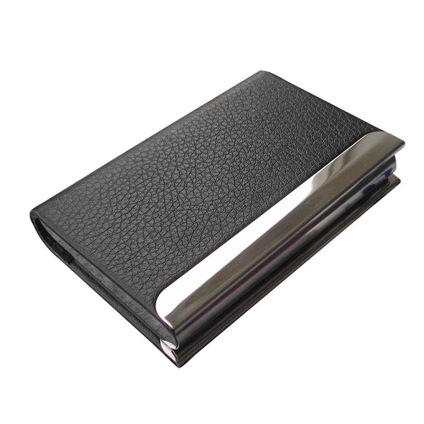horizontal litchi pattern leather business name card holder case organizer with magnetic lid holds 20 cards a246 in card id holders from luggage bags on - Magnetic Card Holder