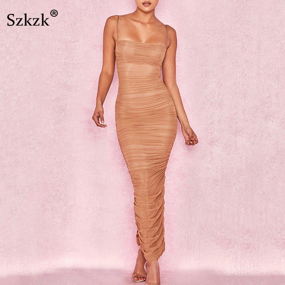 Szkzk Sexy Mesh Bodycon Women Dress 2018 New Ruched High Split Sleeveless Maxi Dresses Casual Club Party Summer Dress Female
