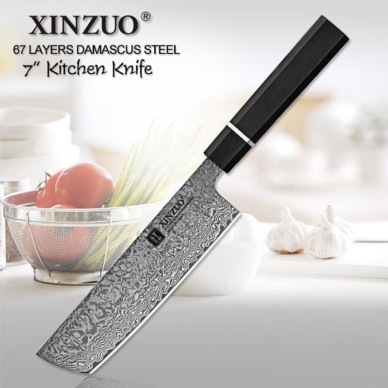 Cuchillo de acero inoxidable para Chef, cuchillo de acero inoxidable, cuchillo de cocina japonés, acero de Damasco de 7 pulgadas-in Cuchillos de cocina from Hogar y Mascotas    1