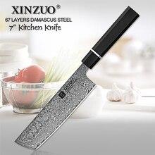 XINZUO cuchillo japonés Nakiri de acero damasco de 7 pulgadas, cuchillo de Chef de acero inoxidable, rebanador de carne, cuchillo de carnicero profesional para verduras
