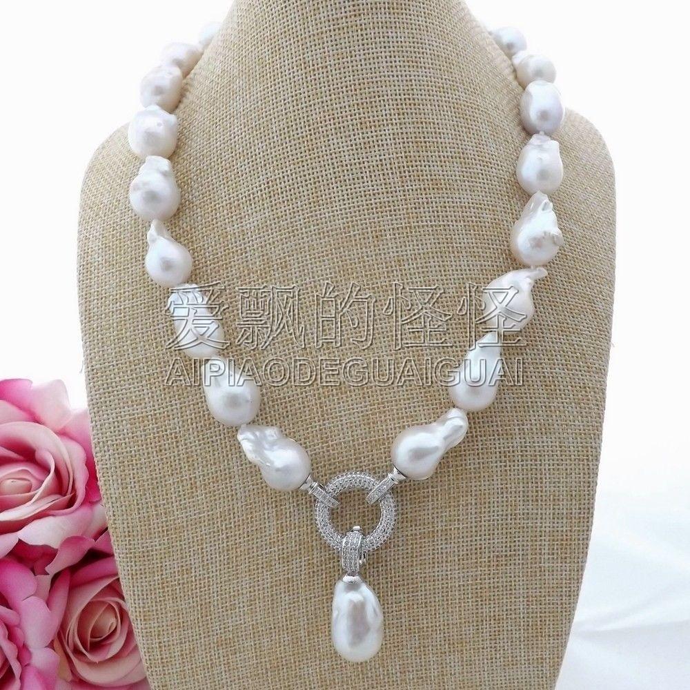 N093005 20 Blanc Keshi Perle Collier CZ Pendentif