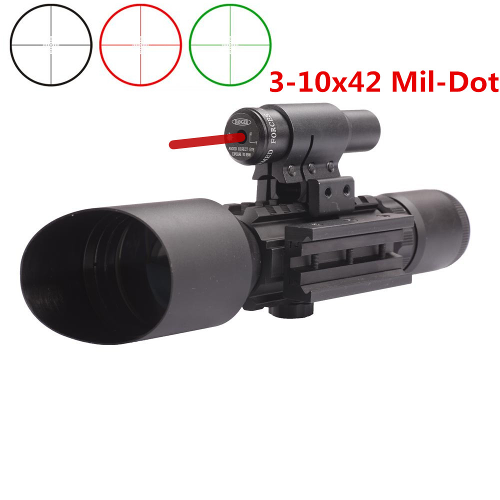 M9 3-10x42 Mil-Dot Reticle Red Green Illuminated Sight Rifle Scope With Red Laser for Airsoft Hunting Caza 20mm 11mm Mount Rail 2 5 10x40 air rifle scope reticle red green dot mil dot dual illuminated sight with red laser w rail mount airsoft gun hunting