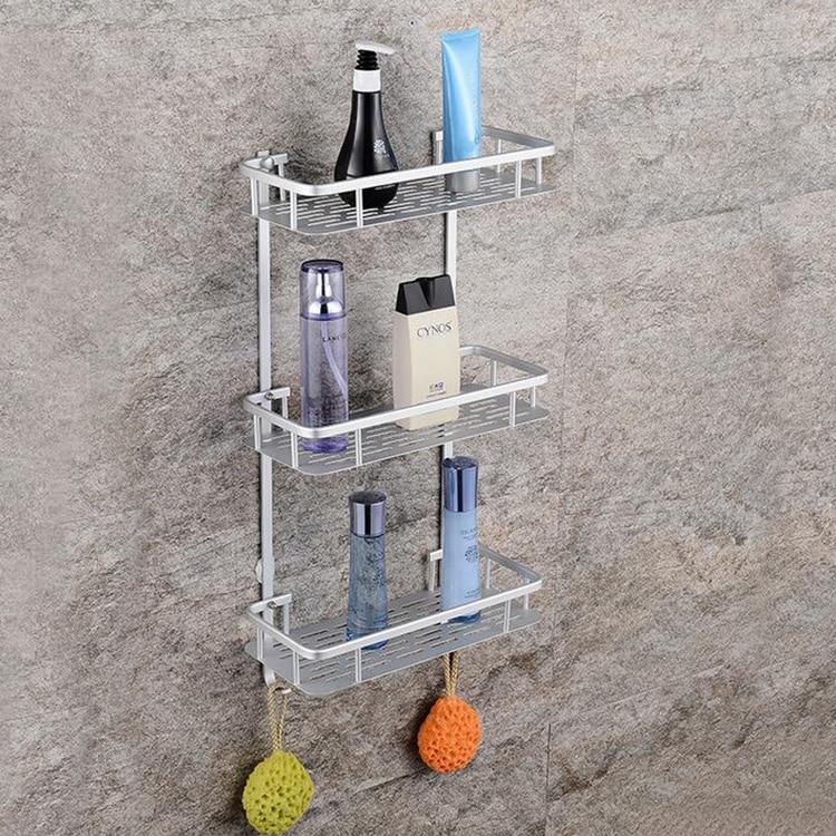 free shipping Bathroom Shelf toilet hanger cosmetics shelves three layers hardware hanging shampoo shelf towel holder towel bar стоимость
