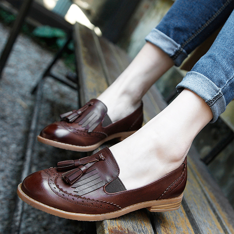 HZXINLIVE Retro Slip on Shoes Woman Fringe Oxford Shoes for Women INS Street Style Women Loafers with Tassels Autumn Flat Shoes