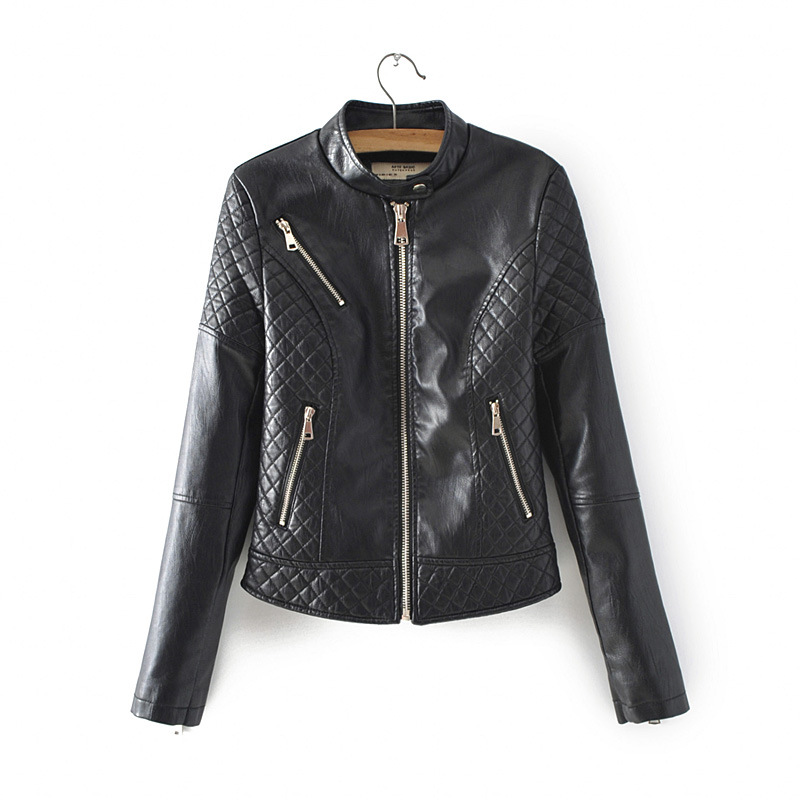 Casual Autumn Winter Women Faux   Leather   Coat Zipper O-neck Motorcycle Style Female   Leather   Jakcet