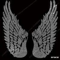 Bigsize Wing Motif Rhinestones Fix Iron On Rhinestone Transfer Heat Beads Patch Applique Clothing Decoration Patches