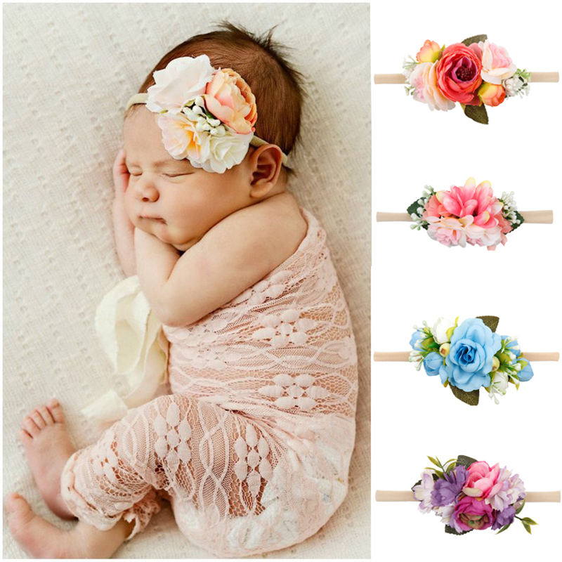 Baby Girl Lace Flowers Headband Imitation Pearl Hairband Elastic Rainbow Tiara