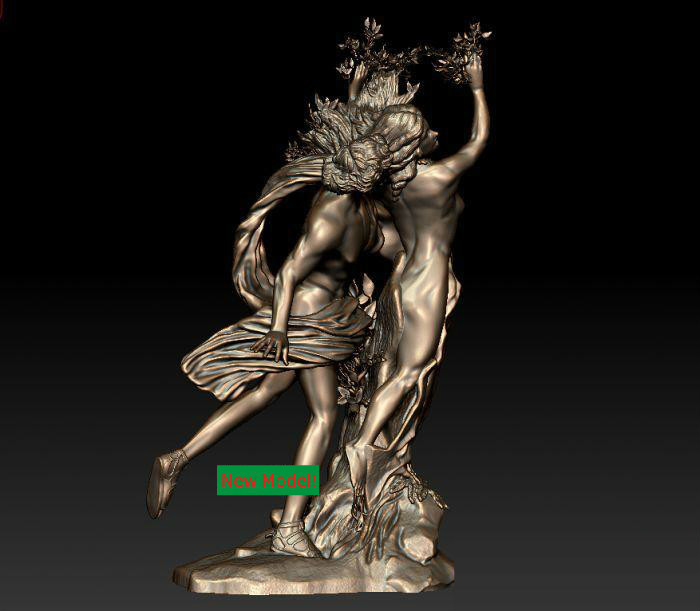 New model 3D model for cnc or 3D printers in STL file format Apollo and daphne model relief for cnc in stl file format 3d panno bird 1