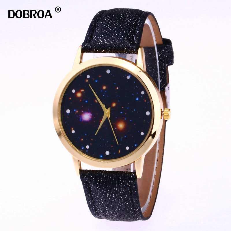 Relogio Masculino Reloj Mujer Shining Dial Leather Strap Metal Fashion Small Strap Casual Watch Men Lady Starry Sky Quartz Watch