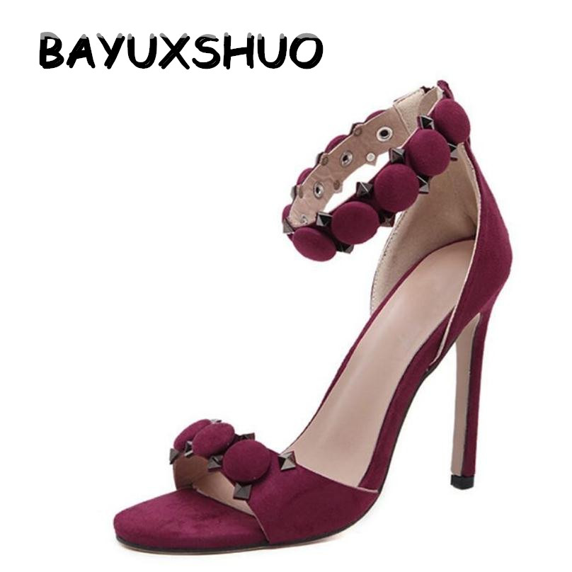 BAYUXSHUO New Design Summer High-heeled Sandals Women Rivet Sexy Open Toe High Heels Roman Sandals Club Party Shoes Woman