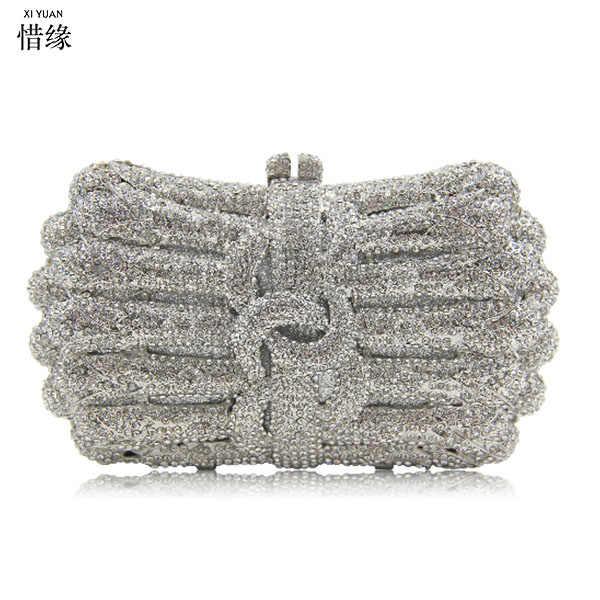 XIYUAN бренд серебряный кристалл цветок женская модная Золотая сумка на плечо Твердый футляр вечерняя коробка в зеленой муфта сцепления сумка
