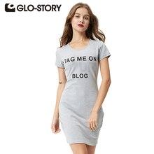 GLO-STORY Women Casual T shirt Dress 2018 Print Letter Short Sleeve High Street Fashionable Cotton Mini Dress Vestidos 1075