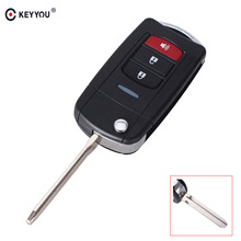 KEYYOU Replacement 3 Buttons Modified Flip Folding Remote Key Shell Case For Toyota Car Key