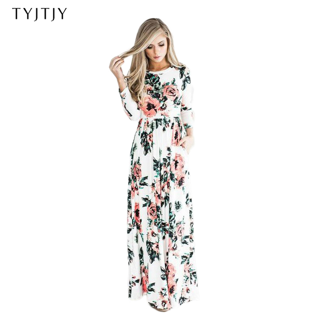 078855dff043b 2019 Summer Long Dress Floral Print Boho Beach Dress Tunic Maxi Dress Women  Evening Party Dress