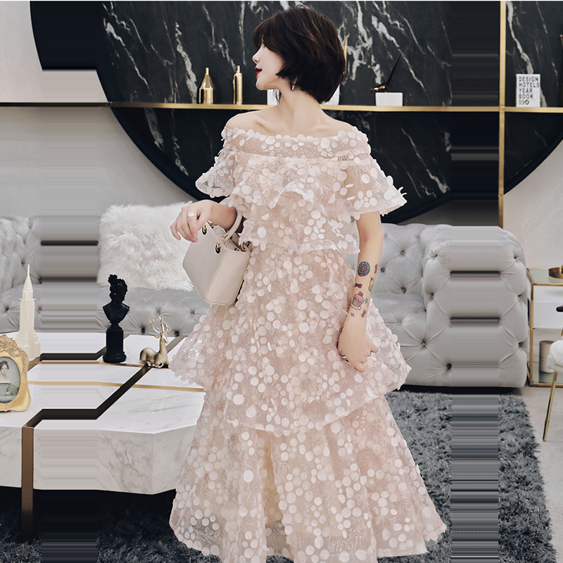 Cocktail     Dress   Sexy Strapless Backless   Cocktail     Dresses   2019 Short Sleeve Party Woman Plus Size Embroidery Robe   Cocktail   E717