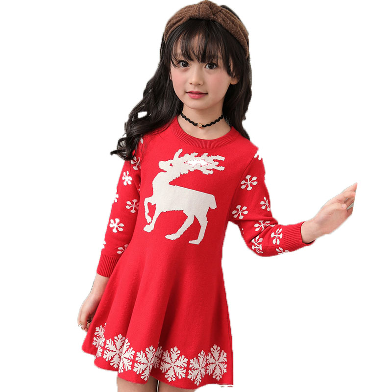Pink Red Navy Children Knit Dresses Baby Girl Autumn Long Sleeve Sweater Kids Christmas Clothes Snow Flake Deer Printed Dress girl sweater dress superfine wool knitted dress 2015 o neck pocket long sweater tassels christmas children clothing kids dresses