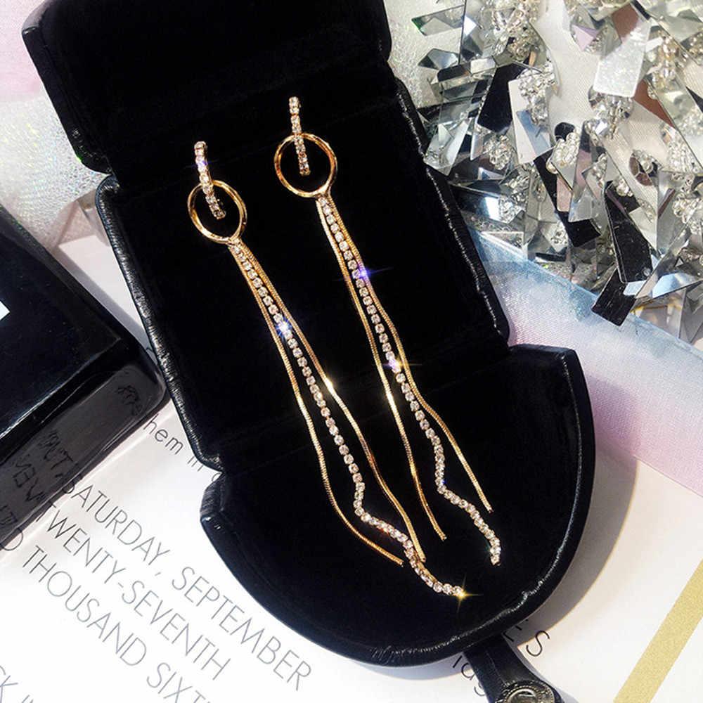 Fyuan moda longa liga strass argola brincos de ouro cor borla pequenos círculos brincos para o casamento feminino jóias
