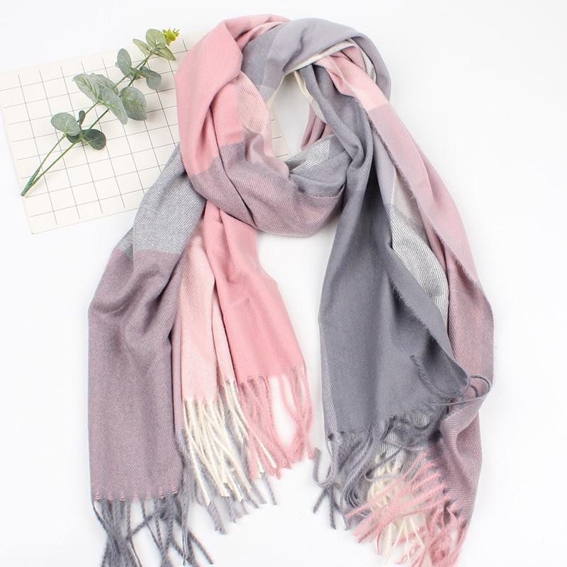 Autumn Winter   Scarves   For Women Female Plaid   Scarf   Cashmere Wide Lattices Long Shawl   Wrap   Blanket Warm Tippet Drop Ship Brand