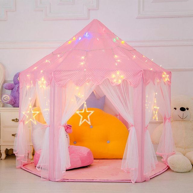 Princess Castle Play House Portable Baby Boys Girls Toy Tents Foldable Children's Ball Pool Tipi Indoor Outdoor Game Tent Kids