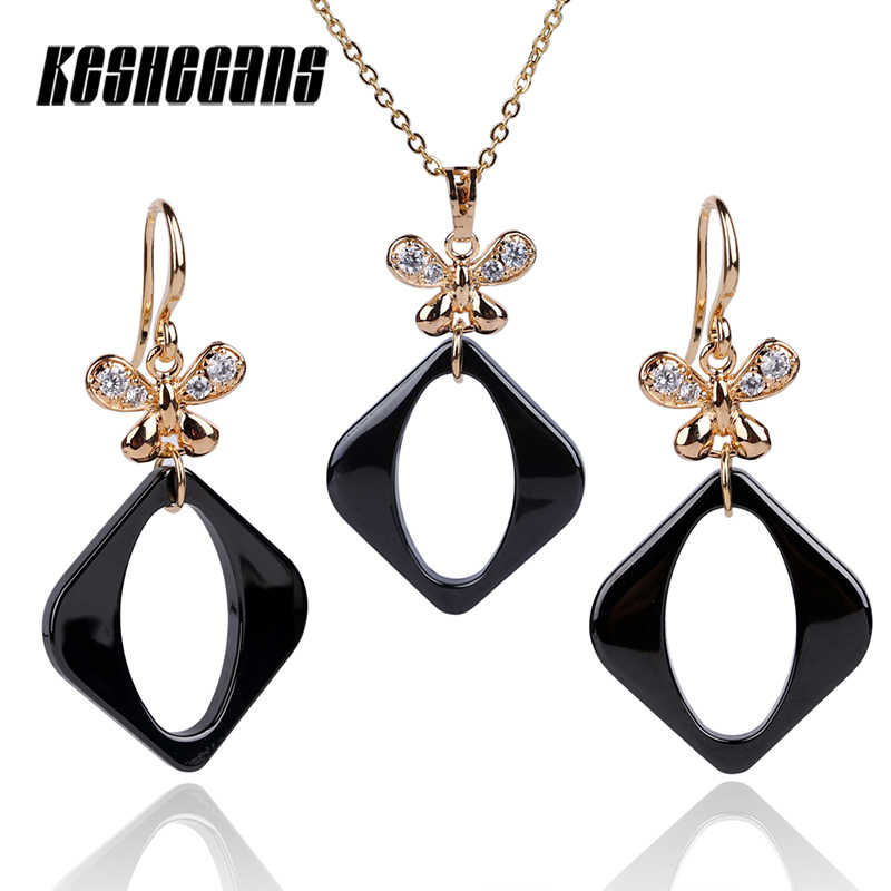 New Cute Rose Gold Crystal Butterfly Jewelry Set Hollow Square Earring  Pendants Necklaces Women Fashion Black White Ceramic Set